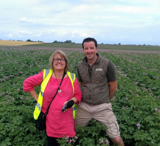 suzanne with tom keogh in a field of maris piper potato plants